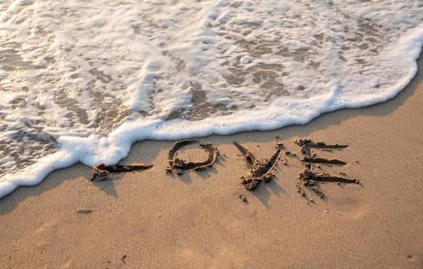 Picture sand, beach, love, love, beach, sea, romantic, sand, wave