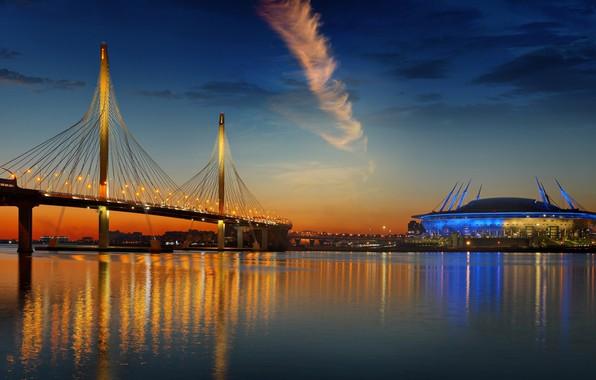 Picture Saint Petersburg, twilight, stadium, illumination, Neva, speed, Western, Parsadanov, Cable-stayed bridge, diameter, MyDizArt_ru
