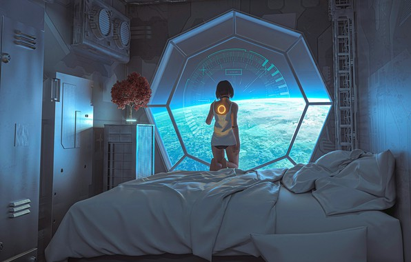 Picture look, girl, space, fiction, back, planet, bed, art