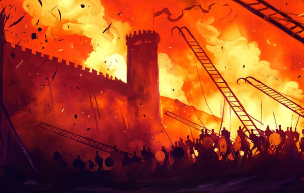 Picture Figure, Fire, War, Battle, Fantasy, Fortress, Art, Wall, War, Illustration, Concept Art, Siege, Dominik Mayer, ...