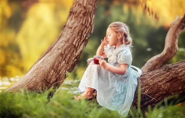 Picture summer, trees, nature, trunks, barefoot, dress, girl, Bank, child, jam, sweet tooth, barefoot, Julia Grafova
