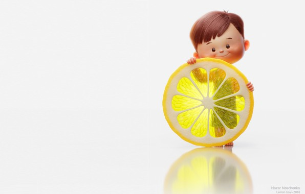 Picture rendering, mood, lemon, boy, art, children's, Nazar Noschenko, Lemon boy