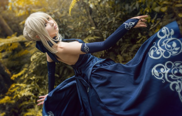Picture forest, look, leaves, girl, blue, nature, face, pose, style, background, movement, thickets, hands, blonde, costume, …