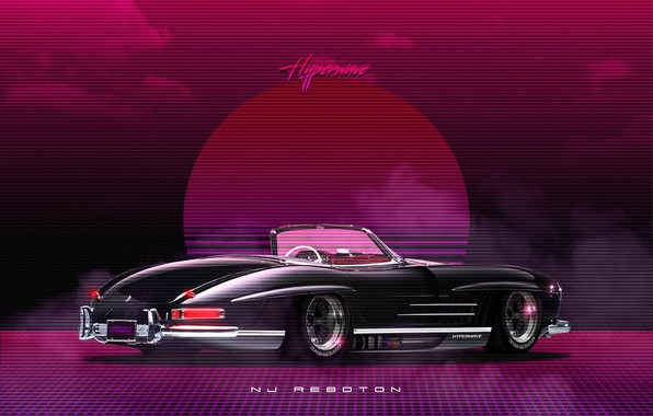 Picture Roadster, Mercedes-Benz, Auto, Music, Machine, Style, Mercedes, Music, 80s, Style, Neon, Illustration, 300SL, Mercedes-Benz 300SL, …