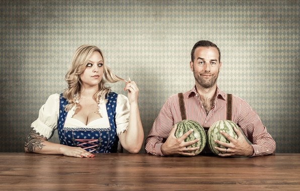 Picture girl, man, watermelons