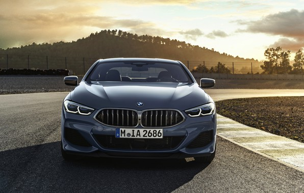 Picture coupe, track, BMW, front view, Coupe, 2018, gray-blue, 8-Series, pale blue, M850i xDrive, Eight, G15