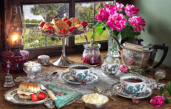 Picture flowers, style, berries, tea, lamp, roses, kettle, window, strawberry, the tea party, Cup, sugar, still …