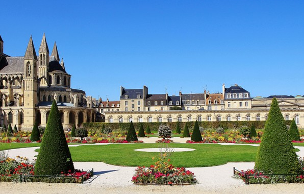 Picture trees, flowers, Park, France, Church, architecture, the monastery, France, Normandy, Normandy, Caen, Kan, Abbey for …