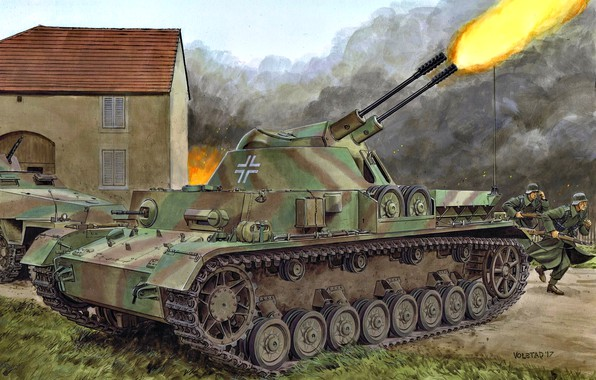 Picture Germany, antiaircraft self-propelled installation, experienced, Ball lightning, Flak panzerkampfwagen IV