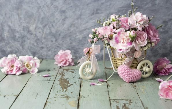 Picture love, flowers, heart, petals, bucket, love, pink, vintage, heart, wood, pink, flowers, beautiful, romantic