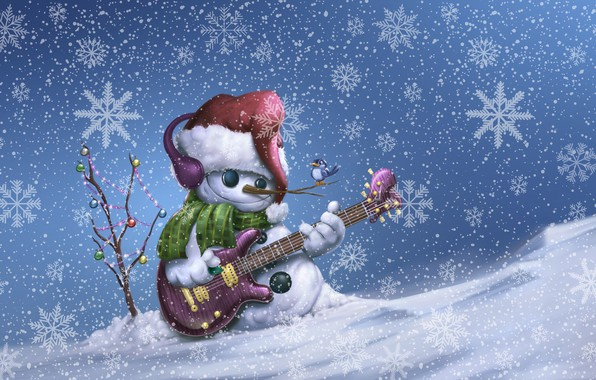 Photo wallpaper Winter, Guitar, Bird, Snow, Christmas, Snowflakes, Background, New year, Holiday, Merry Christmas, Snowboard, Illustration, Snowman, ...