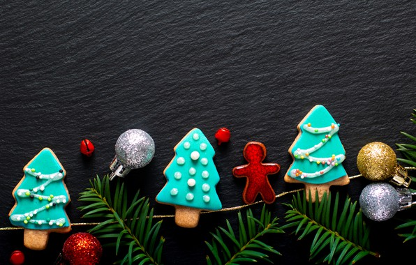 Picture decoration, New Year, cookies, Christmas, Christmas, wood, New Year, cookies, decoration, gingerbread, gingerbread, Merry, fir …