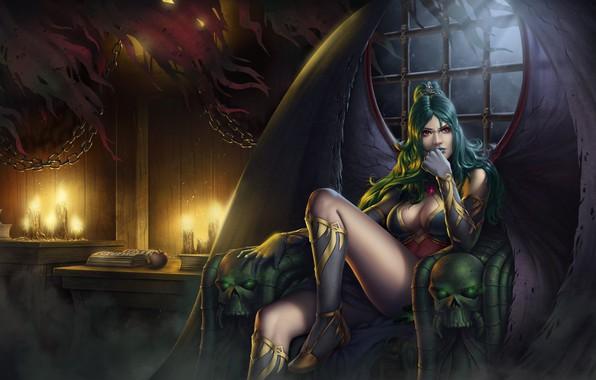 Picture apple, demon, girl, fantasy, cleavage, legs, breast, skulls, wings, vampire, artwork, candles, fantasy art, books, …