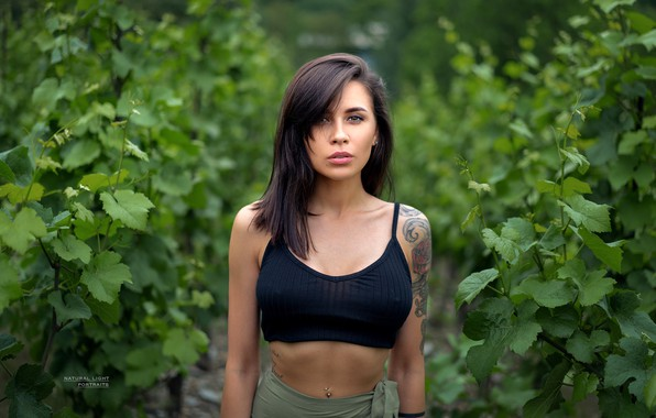 Picture greens, look, leaves, nature, model, skirt, portrait, makeup, piercing, brunette, tattoo, hairstyle, topic, beauty, t-shirt, …
