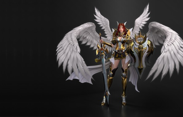 Picture wings, sword, armor, armor, warrior, panelift, 3d, shield sword