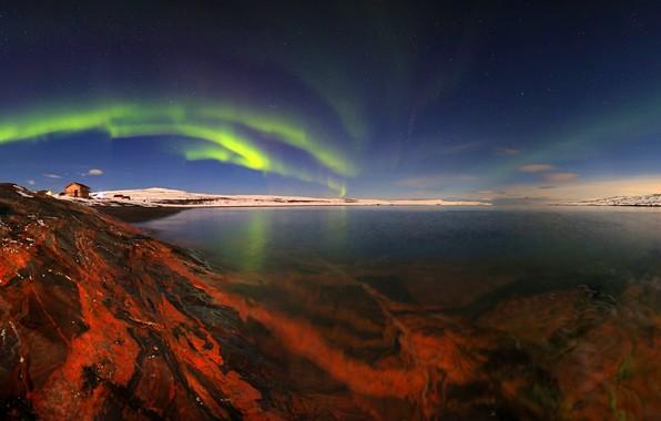 Picture sea, the sky, landscape, nature, Strait, stones, shore, home, stars, polar lights, Murmansk oblast, Egor …