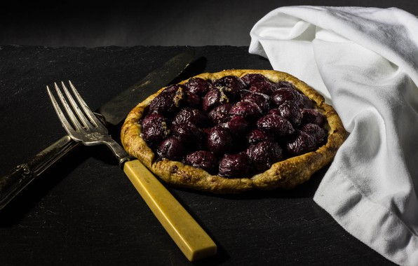 Picture cherry, berries, the dark background, table, white, food, towel, pie, cherry, knife, plug, baked, cooking, …