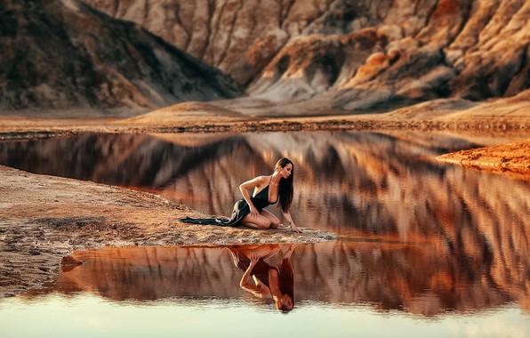 Picture girl, pose, lake, reflection, river, dress, Dmitry Arhar, Dmitry Arhar