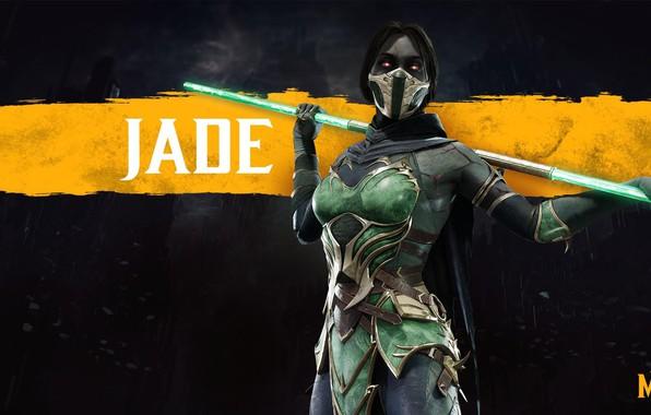 Picture girl, staff, girl, fighter, game, pole, fighting, Jade, Jade, NetherRealm Studios, revenant, Mortal Kombat 11, …