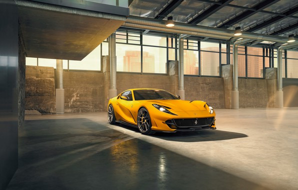 Picture machine, light, yellow, lights, Windows, hangar, Ferrari, drives, stylish, sports, Superfast, 812, by Novitec