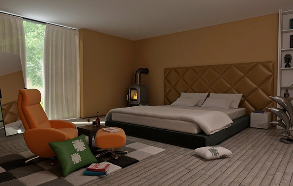 Picture design, room, books, bed, interior, chair, pillow, mirror, window, fireplace, table, bedroom, shelves, Drapes
