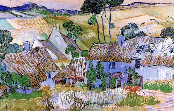 Picture province, Vincent van Gogh, Thatched Cottages, by a Hill