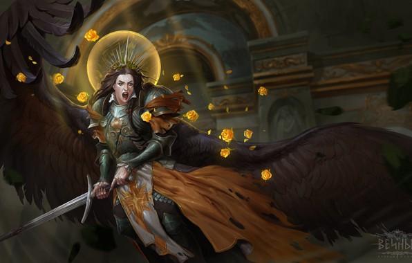 Picture look, weapons, woman, wings, sword, armor, fantasy, art, fallen angel, Creek, black