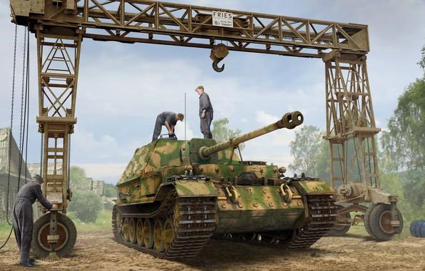 Picture crane, SAU, the Wehrmacht, self-propelled artillery, Sd.Car.184, Ferdinand, Tank fighter, Valery Petelin, German heavy, Strabokran, …
