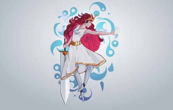 Picture girl, sword, red, Princess, Aurora, Child of Light, by Guilherme de Abreu