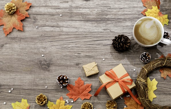 Picture autumn, leaves, background, colorful, gifts, maple, wood, background, autumn, leaves, cup, gift, coffee, autumn, a …