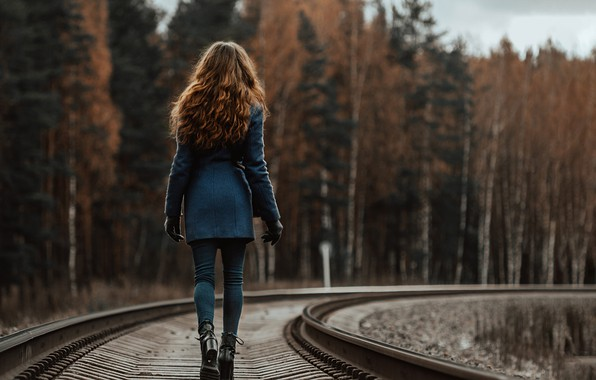 Picture girl, the way, rails, coat, the sleepers, Dmitriy Dmitriev