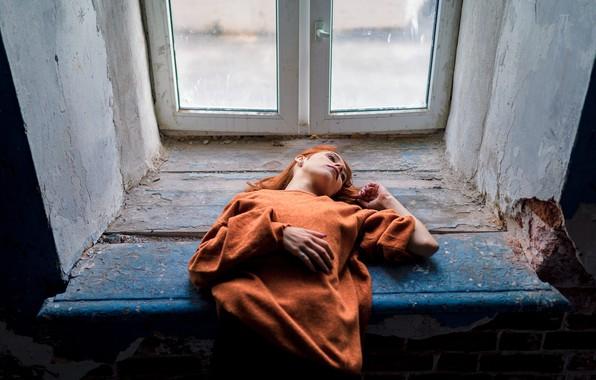 Picture girl, window, lies, sill, Nikita Ilyich