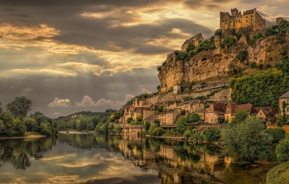 Picture the sky, landscape, clouds, nature, rock, river, castle, France, home, Bank
