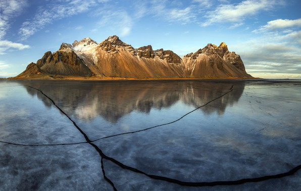 Picture ice, Winter, Reflection, iceland, Vestrahorn Cracks