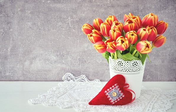 Picture love, flowers, heart, bouquet, colorful, tulips, red, love, flowers, beautiful, romantic, tulips, valentine's day, spring