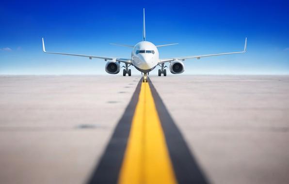 Picture the sky, the sun, horizon, the plane, bokeh, runway, passenger, airliner