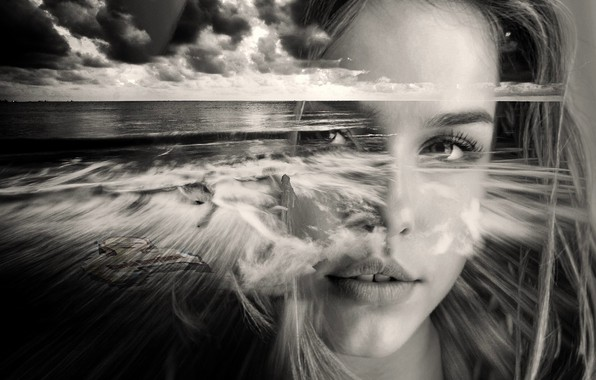 Picture sea, girl, face, black and white picture
