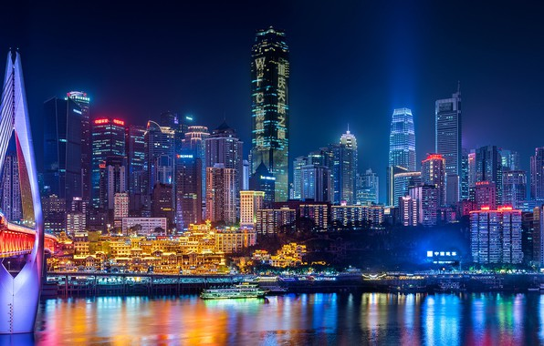 Picture bridge, river, China, building, home, China, night city, skyscrapers, Chongqing, Chongqing, The Yangtze River, Yangtze …