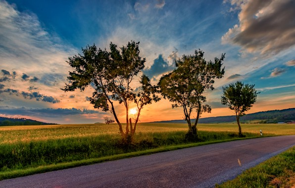 Picture road, the sky, sunset, photo