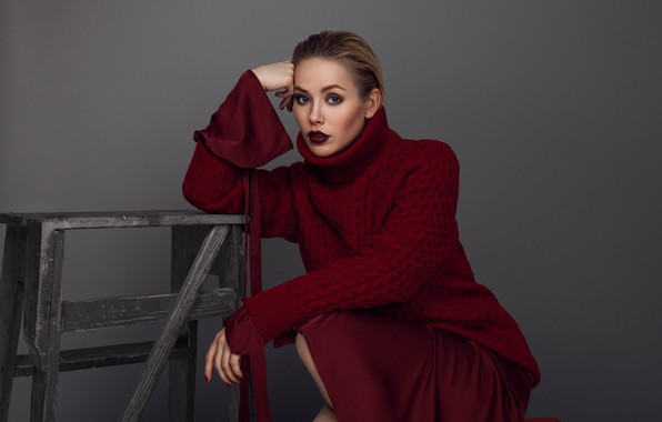 Picture look, pose, makeup, blonde, sweater, hair, blonde, pose, actress, makeup, sweater, Zoya Berber, actress