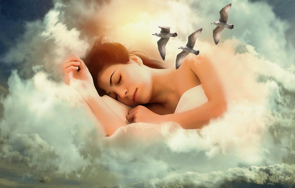 Picture girl, clouds, birds, fantasy, mood, seagulls, sleep, treatment, art, sleeping
