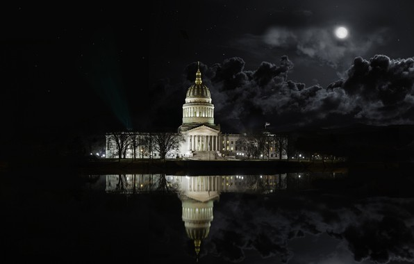 Picture night, clouds, lake, reflection, the moon, West Virginia Architecture State Capital