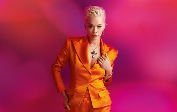 Picture look, girl, decoration, pose, photo, background, beauty, jacket, Rita Ora