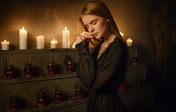 Picture model, Girl, candles, tattoo, Pose, shoulders, Vasilisa Sarovskaya, Sergey Zhirnov