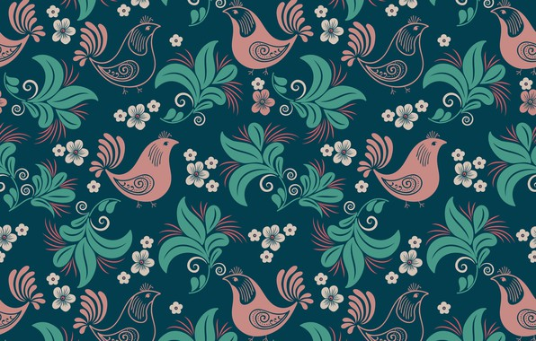 Picture flowers, pattern, texture, birds, black background