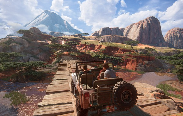 Picture bridge, jeep, Madagascar, Sally, Naughty Dog, Playstation 4, Uncharted 4, Sam Drake, Nathan Drake