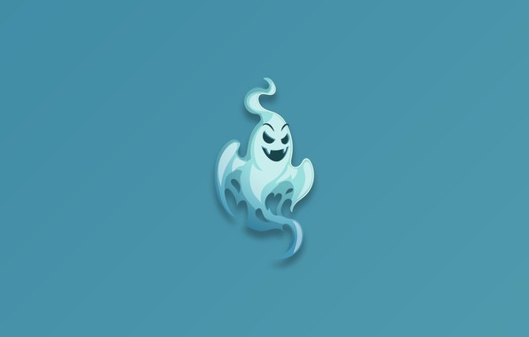 Picture Ghost, minimalism, fear, blue background, digital art, artwork, scary, simple background