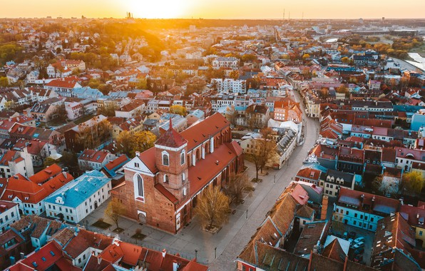 Picture Sunrise, Lithuania, Kaunas old town