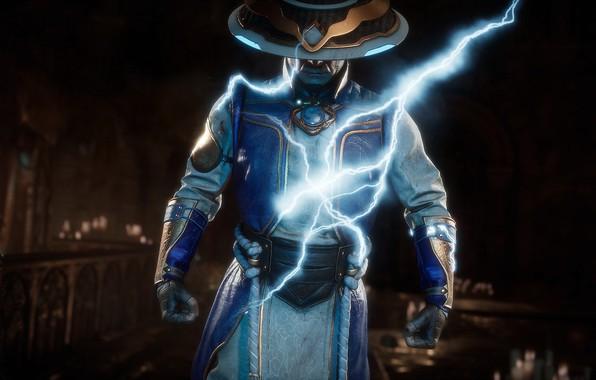 Picture lightning, Raiden, god of thunder, Mortal Kombat 11, MK 11, Mortal Kombat 11, Raiden