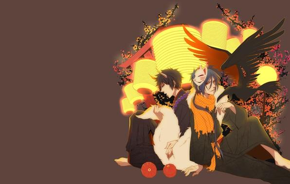 Picture background, guys, Katekyo Hitman Reborn!, Rakudo Mukuro, Hibari Kyoya